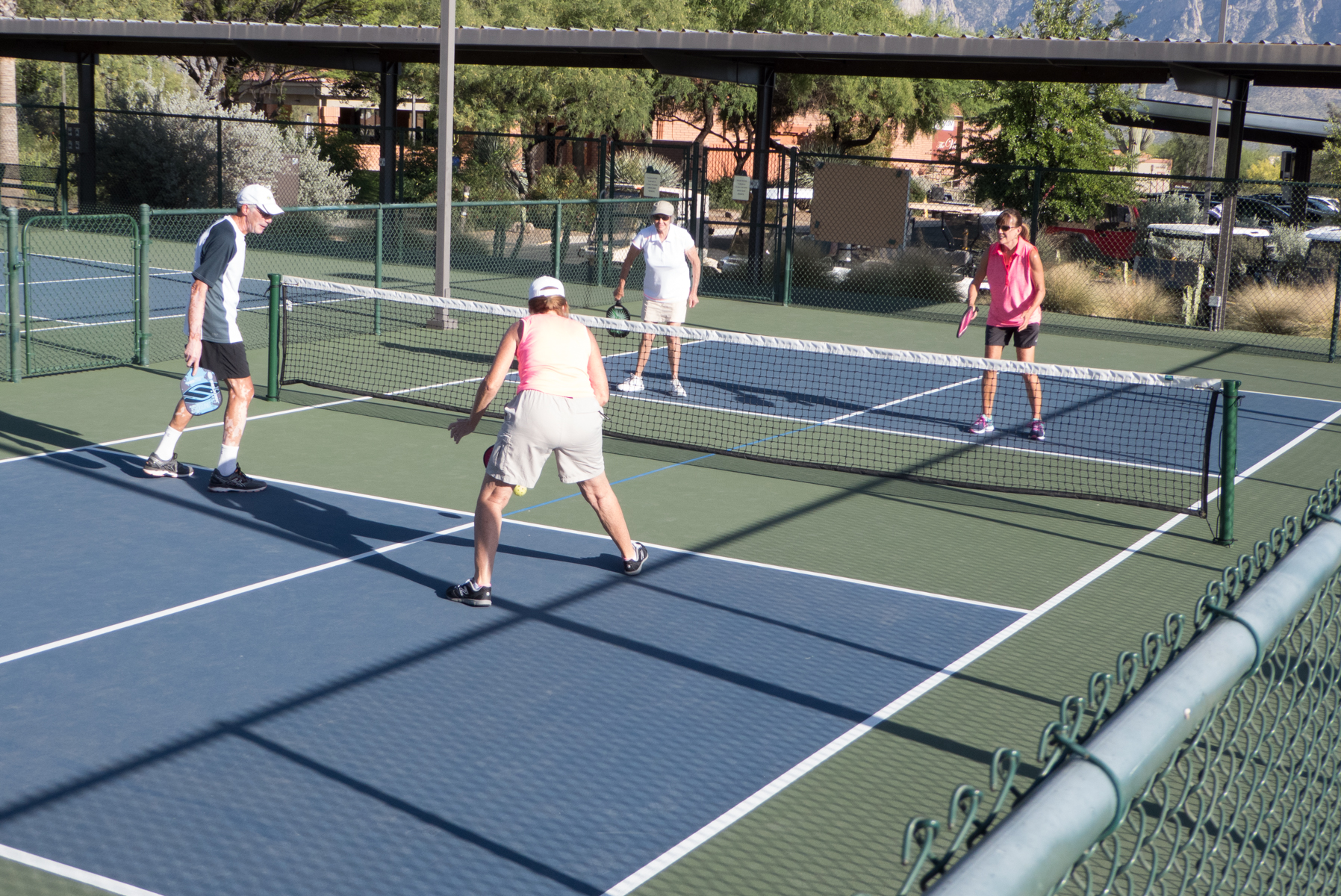 Great exercise and making friends on the Pickleball court