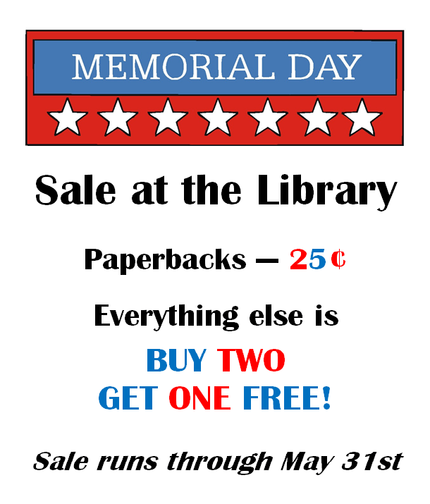 Memorial Day sale at the SCOV Library