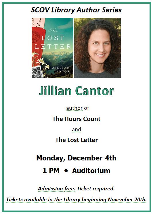 Author Jillian Cantor – Dec 4