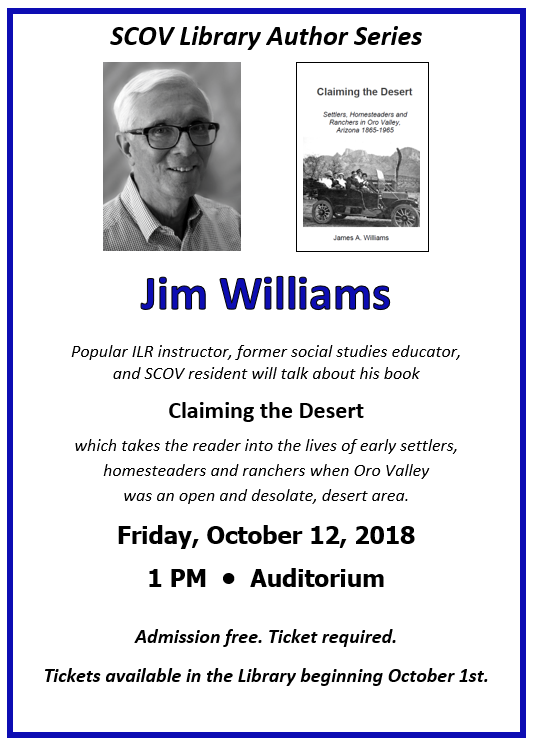 Author Jim Williams event Friday, October 12, 2018