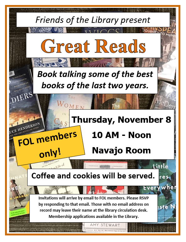 Great Reads Book Talking Event 11/8/18
