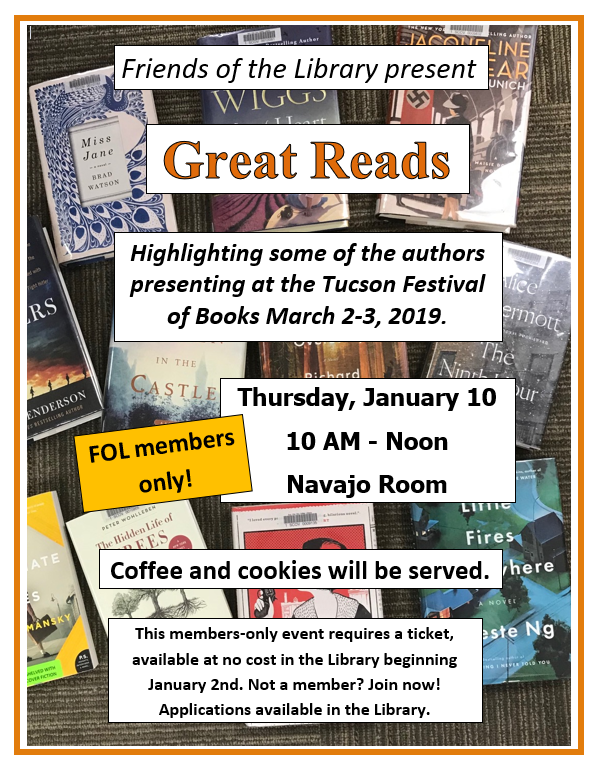 Great Reads Book Talk Event 1/10/19