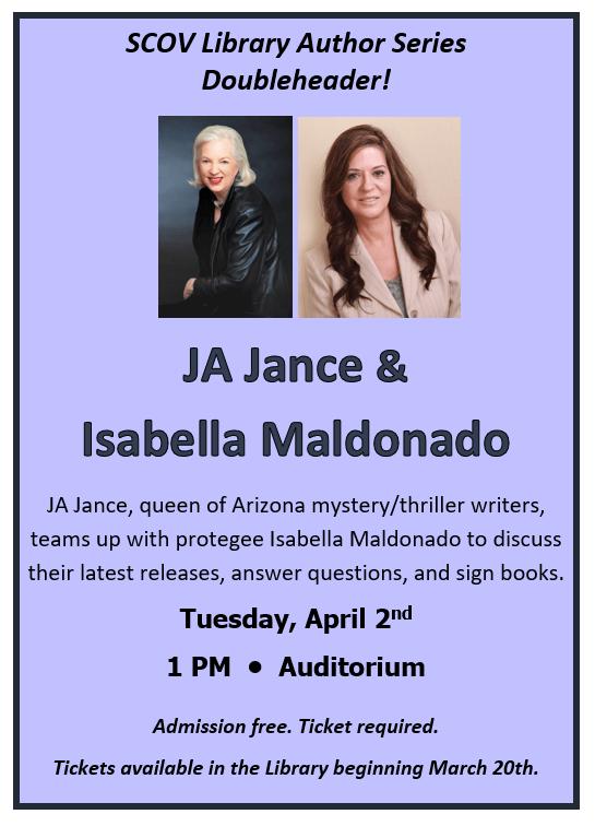 Doubleheader Author Event with JA Jance & Isabella Maldonado – 4/2
