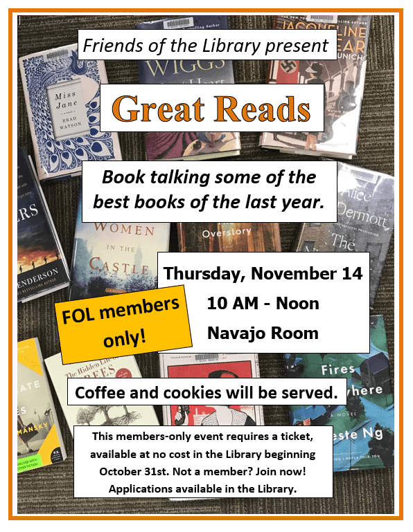Great Reads Book Talk November 14