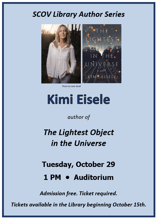 Author Kimi Eisele Event Tuesday, October 29