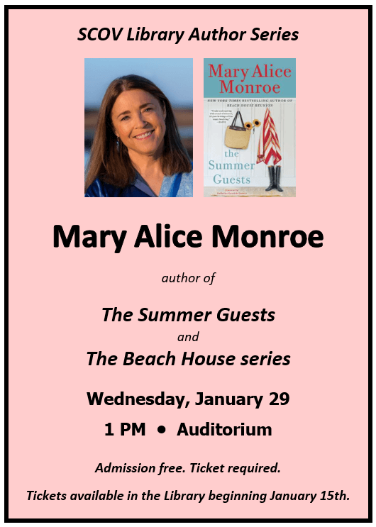 Bestselling Author Mary Alice Monroe Visit 1/29/2020