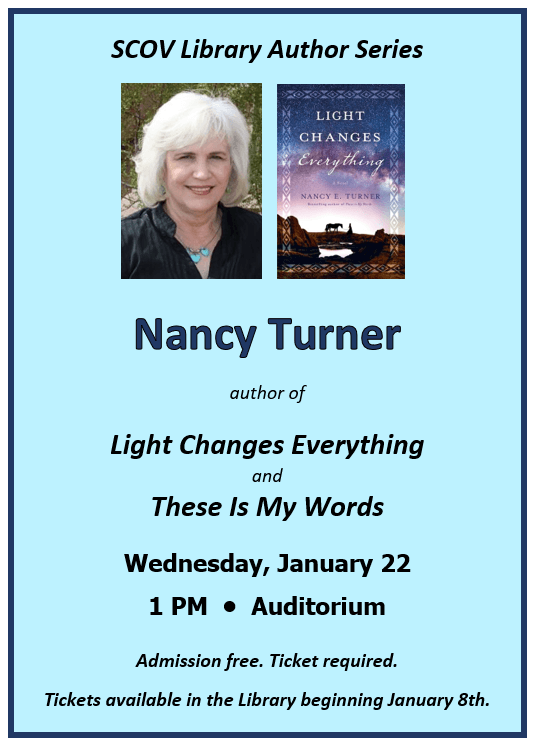 Author Nancy Turner Talk on 1/22/19