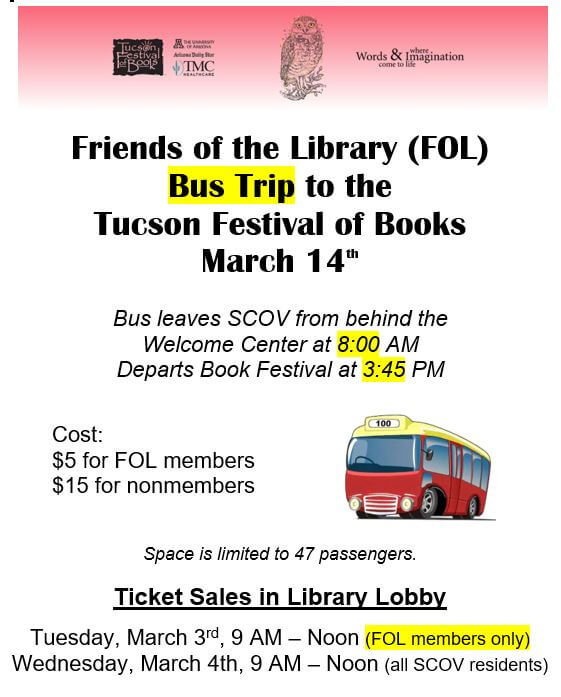 Friends of the Library sponsored bus to the Tucson Festival of Books