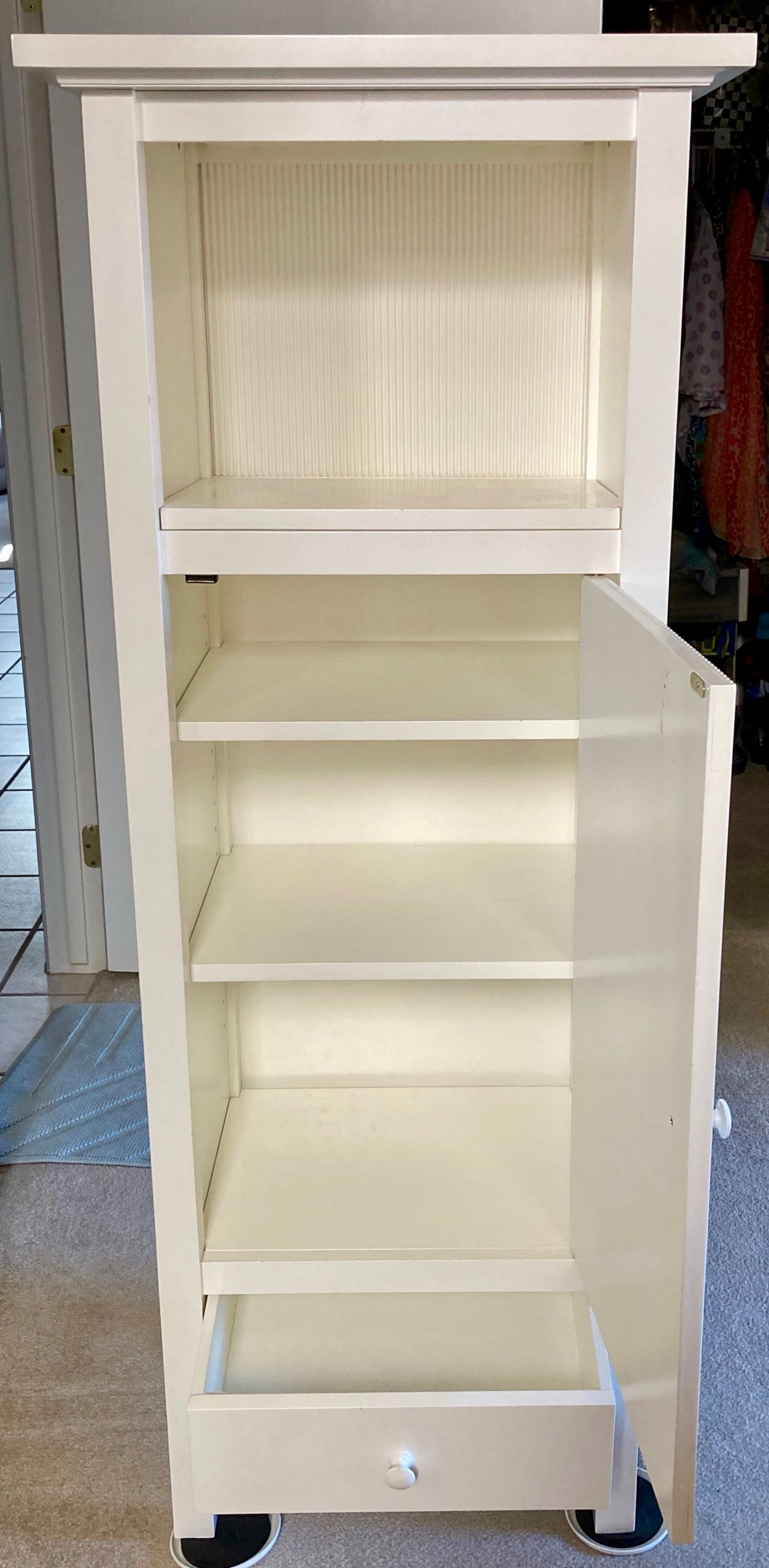Crate and Barrel white vertical cabinet