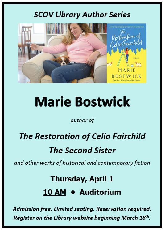 Marie Bostwick Author Event 4/1/2021