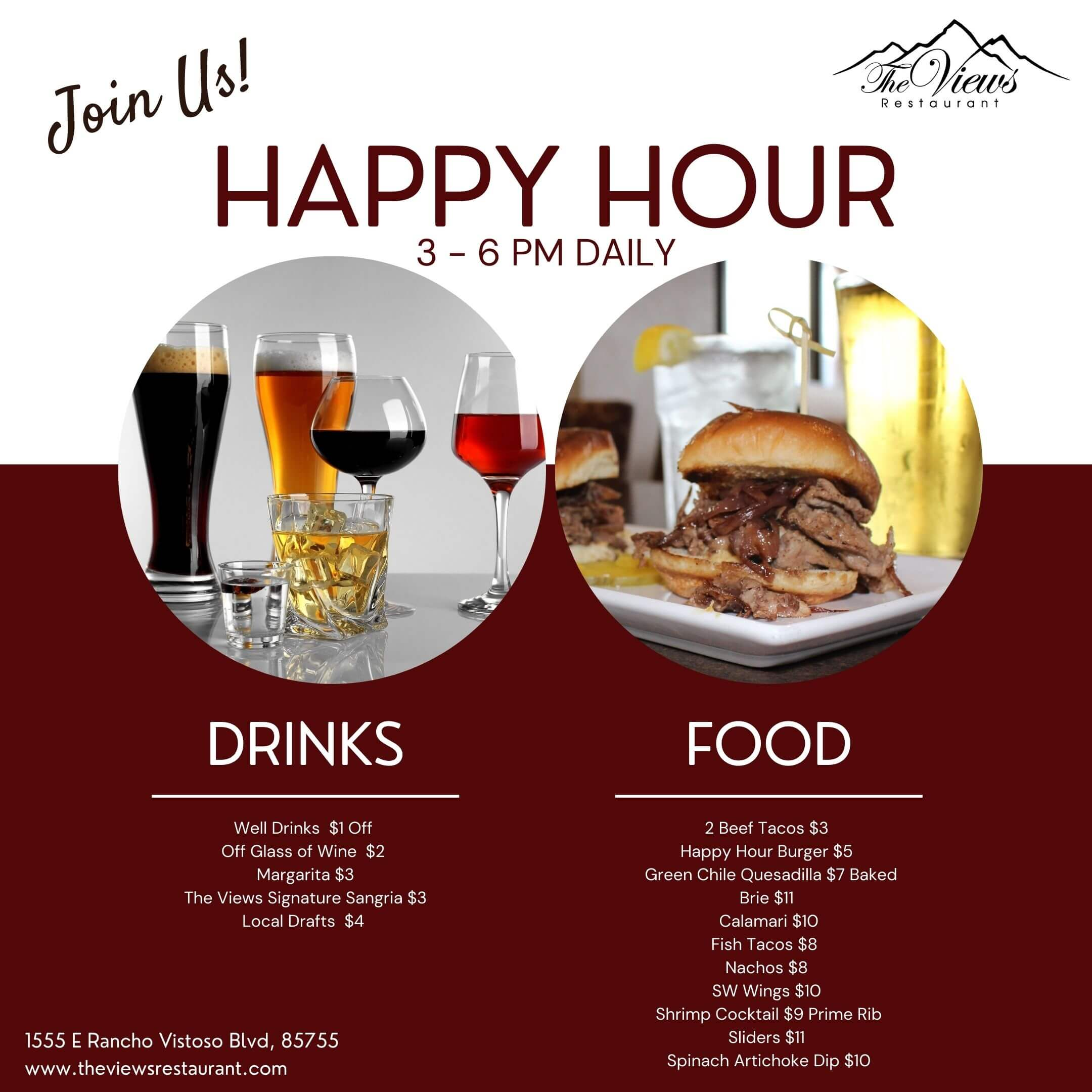 Daily Happy Hour at The Views Restaurant