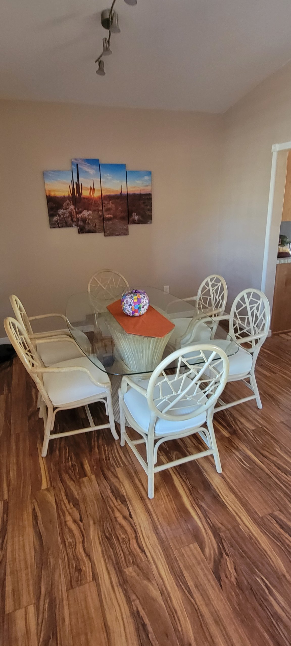 Bamboo Dining Table & 6 Chairs – $250